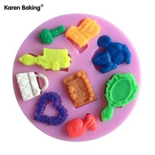 Animal Furniture Lock Key Love Shape Chocolate Candy Jello 3D Silicone Mold Cake Tools Bakeware Pastry Bar C002(China)