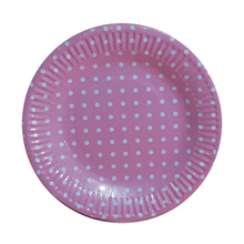"1bag 10 pieces 7"" Polka Dot Paper Plates for Valentine Birthday Wedding Nursery Party Tableware Party Supplies-Pink"