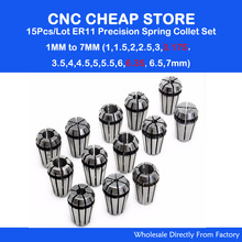15Pc ER11 Collet chuck cnc clamp Spindle lathe tool holder Motor axis set 1-7MM CNC Router Engraving milling wood lather Machine(China)