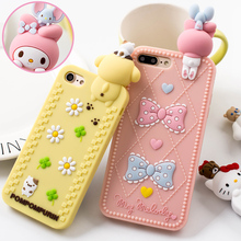 For iPhone 7 7Plus full case 3D hello kitty / Melody phone Cases For iphone 6 6s 6plus Bear Soft back cover case girl pink