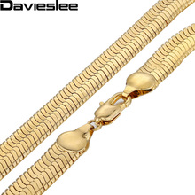 Davieslee Mens Chain Gold Necklace Mirror Snake Herringbone Link Wholesale Vintage Hip Hop Jewelry 3.5/4.5/5.5/9/10/11mm LGN21