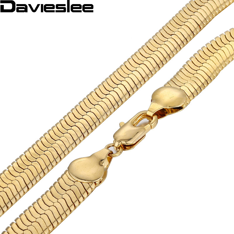 Davieslee Mens Chain Gold Necklace Mirror Snake Herringbone Link Wholesale Vintage Hip Hop Jewelry 3.5/4.5/5.5/9/10/11mm LGN21(China)