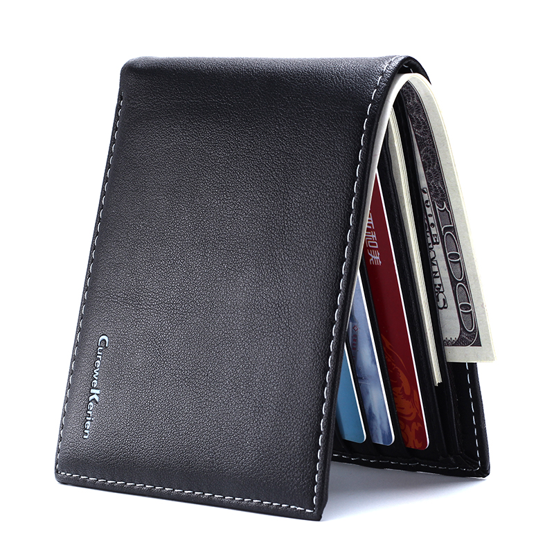 New Wallet Short Thin Small Leather Wallet Men Fold Slim Men Wallets Card Holder Man Wallet Purses Men Money Bag Boys Walet Mini(China)