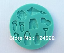 Free Shipping 1Pcs Summer Beach shape green silicone cake fondant decoration mold tools(China)