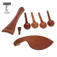 4/4 Violin Chinrest & Tailpiece & Endpin & Tuning Pegs Set Jujube Wood Brown(China)