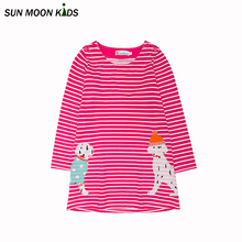 Sun Moon Kids Girls dress stripe 0-6Years summer dress for girl cotton sarafan full length baby girls clothes children costumes