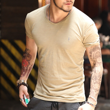 2017 New British AS men's casual V neck white T-shirt Bamboo cotton men slim fit short sleeve T-shirt men tops tees shirt T4173(China)