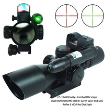 2.5-10x40 Clarity+ Combo Rifle Scope Dual Illuminated Mil-dot W/ Green Laser and Mini Reflex 3 MOA Red Dot Sight