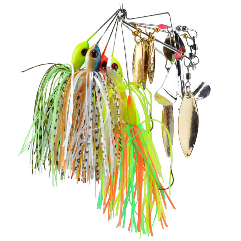 SEALURER Brand Spinner Bait with 2 blades Rubber Jig 5pcs/lot  Fishing Lure Spoon for Lake River Lead Head Pike Lures<br><br>Aliexpress