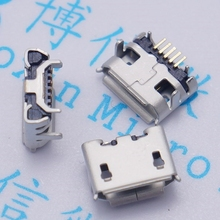 100pcs micro USB 5pin jack Ox horn Four leg plate socket Female socket USB connector Ox horn long needle mini usb Free shipping