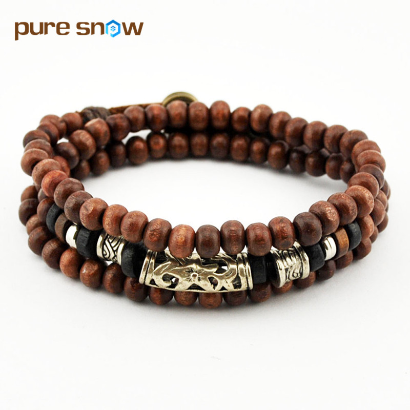 Wholesale Alloy Retro Leather Bracelet Wooden Bead Bracelet 6MM Beads Bracelet Multilayer Bracelet Necklace Men Jewelry