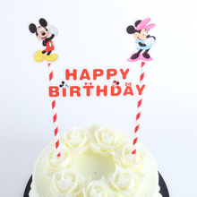 1pack Mickey And Minnie Cupcake Topper Cartoon Cake Flags With Paper Straw For Wedding Birthday Party Decoration Supplies(China)