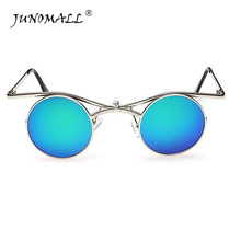 JUNOMALL Fashion Retro Sunglasses Round metal Frame sunglasses Reversible lens Reinforced Metal Hinges Driving Outdoor-Sport(China)