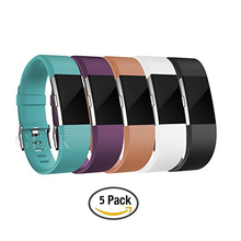 Replacement Accessory TPE Band For Fitbit Charge 2 Classic Wristband Strap with Secure Fasteners Metal Clasps 5 pcs Large Small