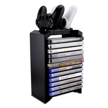 Multifunctional PS4 Games Disk Storage Tower and Dual Charger Stand Games Holder for PlayStation 4 PS4 Pro PS4 Slim XBOX ONE S(China)
