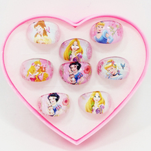 8Pcs Cute Cartoon Snow White Princess Round shape Kids Girl Rings fashion Jewelry Jewellery include Display Box