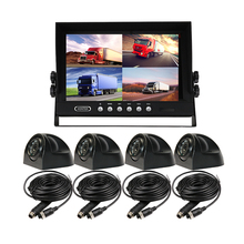 "FREE SHIPPING 4CH DC 12V-24V 9"" LCD Quad Split Car Reversing Monitor Kit + Night Vision HD Rear View Camera for Truck Bus Van(China)"