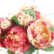 European Artificial Flower Fake Peony Bridal Bouquet Christmas Wedding Party Home Decorative Real Touch Flowers Peopny