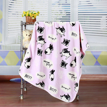 1PC 100*73cm Hot Cover Thickened Flannel Beds Blanket Soft Puppy BullDog Printed Style home living room sleeping New year supply(China)
