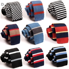 Classical Stripes Men Knit Tie Slim Skinny Knitted Neckties Groom Narrow Neck Ties For Wedding Party Business ZZLD041-060(China)