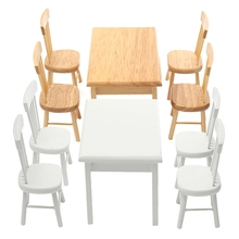 5Pcs/set 1/12 Scale Miniature Wooden Dining Chair Table Furniture Set For Doll house Miniature Kitchen Food Furniture Toys