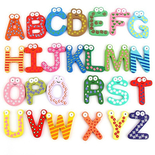26 Alphabet Magnetic Letters A-Z Wooden Fridge Magnets Baby Kid Education Toys(China)