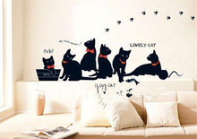 Vinyl Wall Stickers Wallpaper Animal Cartoon Black Cat Family Living Room Sofa Wall Decals House Decoration Poster Home Decor(China)