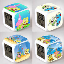 SpongeBob Alarm Night Light Clock Lovely Popular Square LED Colorful Digital Electronic Clock America Anime Toys Small Gift