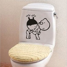 3 pieces /lot Lovely pvc creative DIY Toilet Stickers Korea style bathroom decorate wall stickers for Restroom wall decor ZL4170(China)