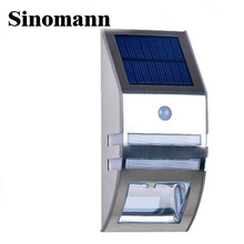 Waterproof 2 LED 120LM PIR Solar Motion Sensor Lamp Garden Yard Outdoor Wall Pathway Balcony Porch Fence Lights(China)