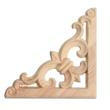 KiWarm Fashion Wood Carved Decal Corner Onlay Applique Frame Furniture Wall Unpainted For Home Cabinet Door Decor Crafts 8*8cm(China)