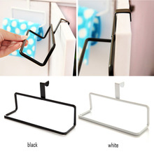 Black / White Metal Towel Rail Hanger Bar Holder Over the Cabinet Cupboard Door Hanging Rack Kitchen Accessories