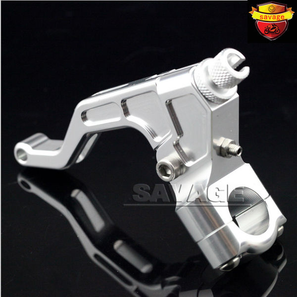 Motorcycle CNC T6061 Aluminum Stunt Clutch Lever Assembly Silver For 22mm 7/8 handlebar<br>