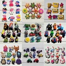 9-11pcs Hello Kitty Avengers Pikachu PVC Shoe Charms Fit Croc for Shoes&wristbands Kid Party Gift Furniture Accessories(China)