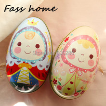 100pcs/Lot  Big size Tin box Prince and Princess Easter Egg Candy box Kids Party Trinket Gift Storage Candy Case