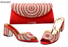 Red Color Matching Women Shoes and Bags High Quality African Shoe and Bag Set Italian Design Italian Ladies Shoe and Bag Sets(China)