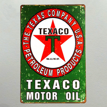 Vintage Home Decor Texaco Motor Oil Vintage Metal Tin Signs Retro Metal Sign Decor The Wall of Cafe Bar Home Custom Neon Sign(China)