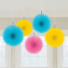 1PC 15cm Tissue Paper Fan DIY Paper Crafts Hanging Wedding Supplies Birthday Party Decorations Kids Decoupage Home Decorative(China)