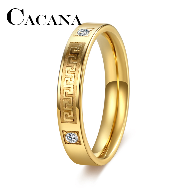 CACANA Titanium Brand Crystal Jewelry Fashoin Women Men Unisex Luxury4mm Wide Rings Wholesale Gold Color Stainless Steel Wedding