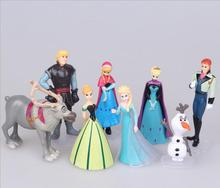 8pcs/set 5-9cm Disney Frozen Elsa Princess Anne Olaf Girl doll toy Kids Preferred Gift Set Olaf Christopher reindeer