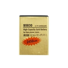 High Capacity 2450mAh Replacement EB494358VU Gold Battery For Samsung Ace GT-S5830 S5830 GT-S5660 S5660 Free Shipping