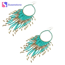 2017 New Four Colors Bohemian Fringed Long Section Of Big Beads Pendant Drop Earrings White Black Rose Blue(China)