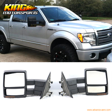 Fit For 07-14 Ford F150 Towing Mirrors Power Heated Turn Signal Puddle Light Pair
