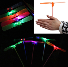 2017 Real 20pcs/lot New Led Luminous Flying Light Up Toys Flashing Bamboo Dragonfly Electronic Cheap Kids Gift Party Decoration(China)