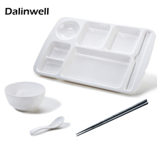 1Set Korean Fast Food Tray PLASTIC Imitation Porcelain White Melamine Lunch Box Plate Fruit Fish Dish Canteen Restaurant Supply(China)