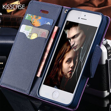 KISSCASE For iPhone 7 Plus Stand Wallet Cover Color Leather Card Slot Flip Mobile Phone Case For iPhone 5 5S SE 6 6S Plus 7 Plus