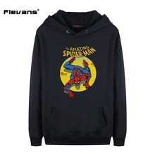 Flevans Spiderman Mens Hoodies The Amazing Spiderman Printed Hoody Spring Autume Fashion Hooded with Packet Hat Casual Pullver(China)