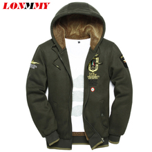 LONMMY 3XL 2017 wool warm winter coats mens hoodies and sweatshirts Cardigan jackets Clothes wear uniform arm tracksuits for men(China)