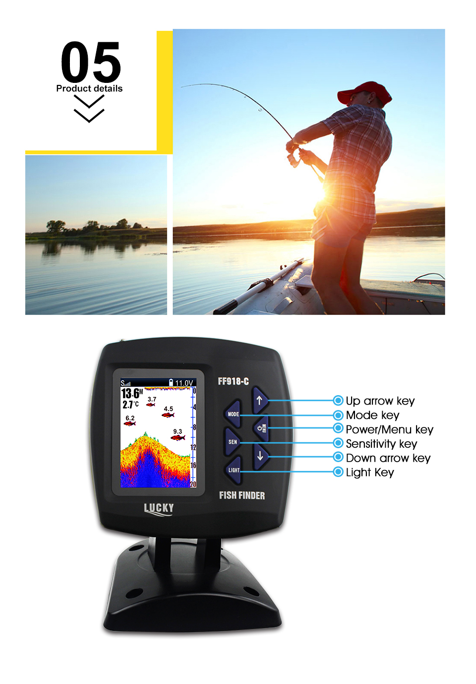 Fish Finder Lucky FF918-CWLS 3.5 LCD Boat Fish Finder wireless Underwater Detector Camera For fishing operating range 300m Depth Range 100M (6)