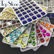 All Sizes Colors Rivoli Sew On Rhinestones 8mm,10mm,12mm,14mm,16mm Flatback Round Sewing Glass Crystal Stone Jewelry Beads